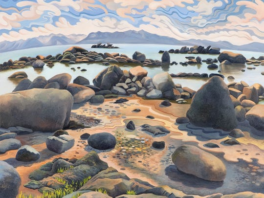 """Phyllis Shafer, """"Lake Tahoe from the East Shore,"""" 2011, Oil on Canvas, Private Collection"""