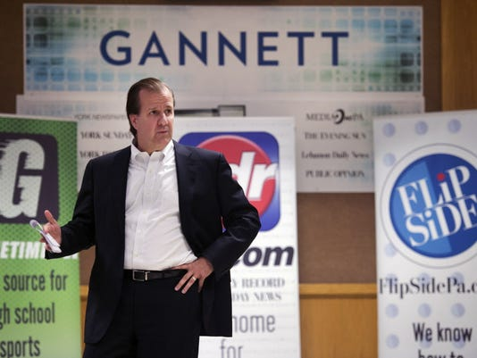 Michael Kane, east group president at Gannett, talks to the York Daily Record, York Newspaper Company and York Dispatch after announcing ownership of the properties Monday June 1, 2015.