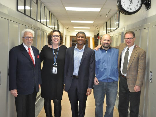 The Shorewood School District honored five alumni at its Tradition of Excellence Awards on April 13. Pictured are (from left) Donald Baumgartner, Joan Walsh, Johnathan Bernard, Christopher Corwin Carson and Wayne Newhauser.