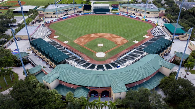Roger Dean Stadium is the spring training home to Miami Marlins and St. Louis Cardinals in Jupiter, Florida on July 29, 2019