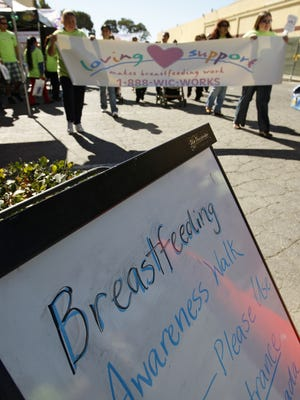 People participate in a Breastfeeding Awareness Walk in Salinas, California.