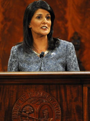 South Carolina Gov. Nikki Haley delivers her State of the State address to the joint session of the legislature Jan. 22, 2014 at the Statehouse in Columbia, S.C.