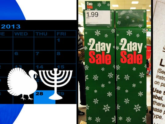 Compilation photo of Thangsgivukkah, Christmas shopping, and taxes