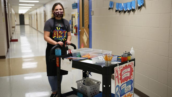 Jenna Permenter, a traveling art teacher for Shawnee Heights Unified School District 450's elementary schools, is the district's nominee for the Horizon Award, which recognizes outstanding work from first-year teachers. Permenter said she hopes students gain confidence and a sense of normalcy from her classes.