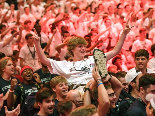 Michael Gray, representing Nationals for the City of Cooper, is carried to the front stage after being elected mayor of the city-named group, during Palmetto Boys State in the Henderson Auditorium at Anderson University in Anderson on Monday.