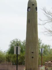 A license-plate reader designed to look like a cactus