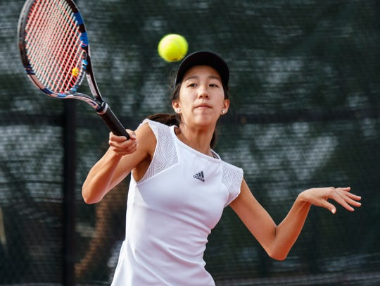 Homestead No. 2 singles player Natalie Yang competes
