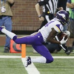 Minnesota Vikings wide receiver Stefon Diggs falls into the end zone after a 36-yard reception for a touchdown during the second half of the Oct. 25 game vs. the Detroit Lions.