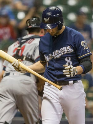 Ryan Braun strikes out to end the eighth inning.