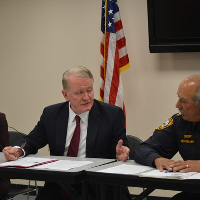 Rep. Leonard Lance discusses his new federal legislation to target phone scammers with Somerset County Sheriff Frank Provenzano and Somerset County Freeholder Pat Walsh.