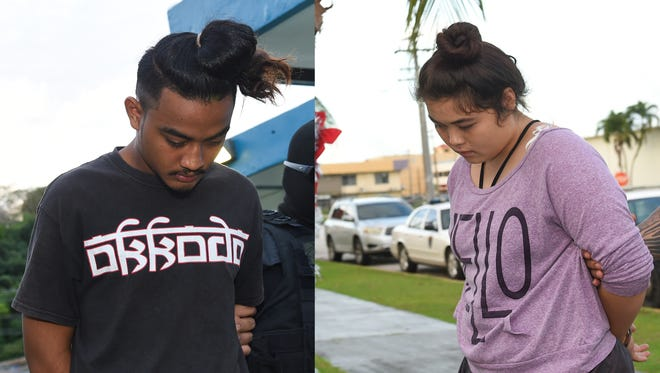 Kelly Hutch Apenis, 18, left, and Kaylina Nicole Manglona Crisostomo Depamaylo, 19, are escorted at the Guam Police Department Hagåtña Precinct on Dec. 30, 2017. Apenis and Depamaylo were arrested in connection with the Dec. 23 Micronesia Mall strong arm robbery, according to Sgt. Paul Tapao, acting GPD spokesman.