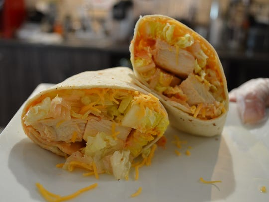 The Buffalo chicken ranch wrap at Caffeinated Cafe