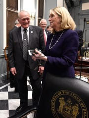State reps. David Wilson, R-Bridgeville, and Deborah Hudson, R-Fairthorne, talk before the start of the 149th General Assembly at Legislative Hall in Dover on Jan. 12. Wilson is the primary sponsor of legislation that would require lawmakers to fully fund the state Farmland Preservation Fund.