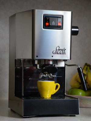 """The Gaggia Classic does an admirable job of brewing espresso for a machine costing less than $400, even if its ability to steam milk is limited with the supplied """"Panarello"""" milk frother."""