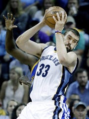 Marc Gasol, in his 10th season with the Memphis Grizzlies, ranks among the franchise's all-time leaders in scoring and rebounding.