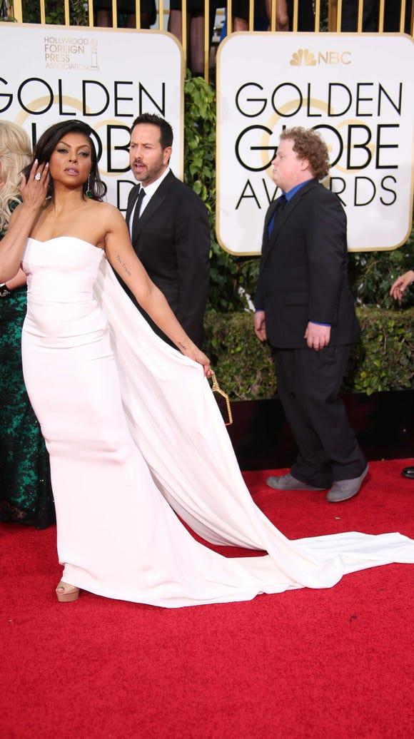 Taraji P. Henson arrives at the Golden Globe Awards