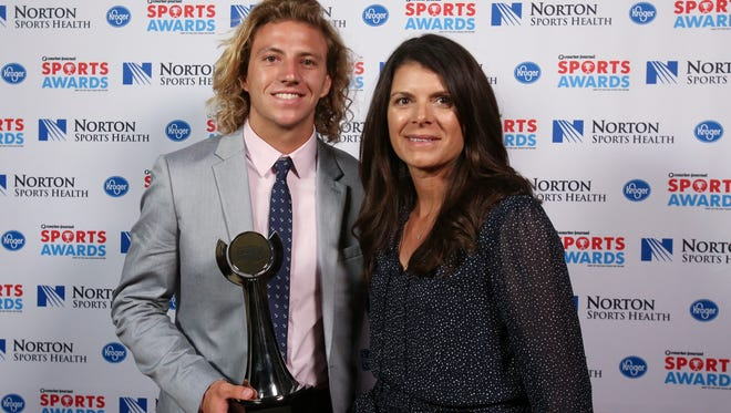 Two-time U.S. Olympic gold medalist Mia Hamm, right, posed with Luke Niebrugge during the CJ Sports Awards.June 12, 2017