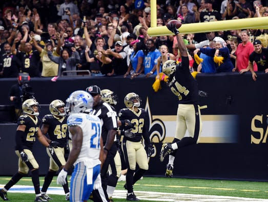 Saints defensive end Cameron Jordan (94) celebrates