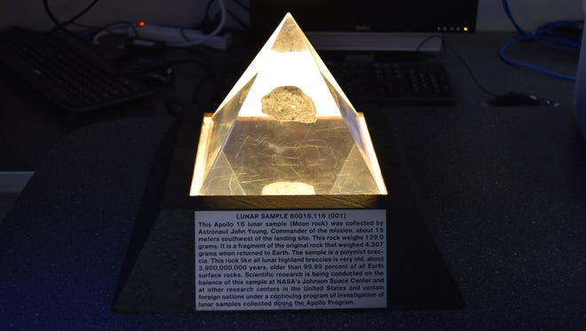 A moon rock on loan to Kopernik Observatory & Science Center from NASA will be on display Saturday at the Roberson Museum and Science Center.
