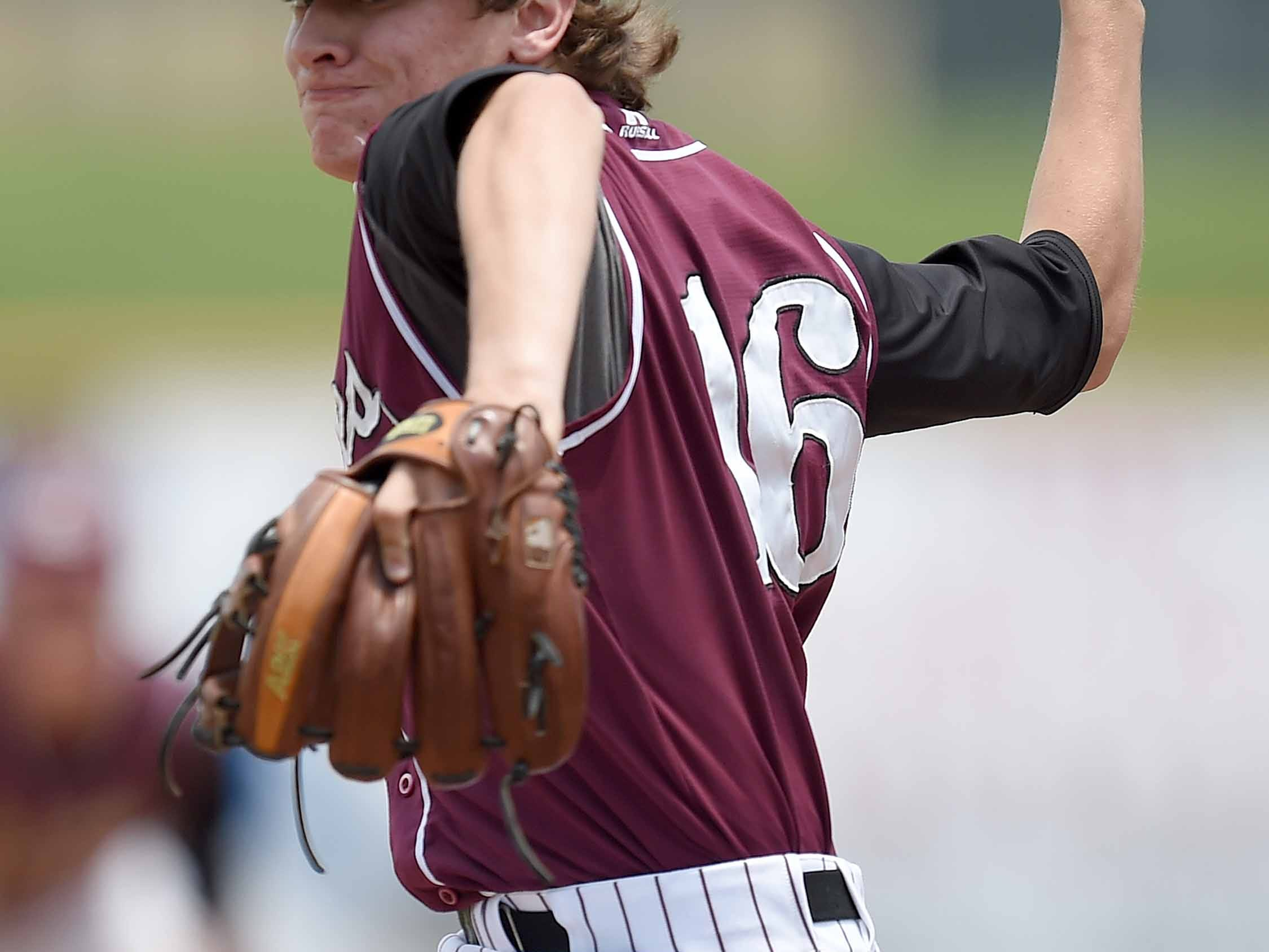 East Webster starting pitcher Cody Boland rears back to deliver a pitch to a Taylorsville hitter on Saturday, May 23, the final day of the 2015 MHSAA Baseball State Championships at Trustmark Park in Pearl, Miss.