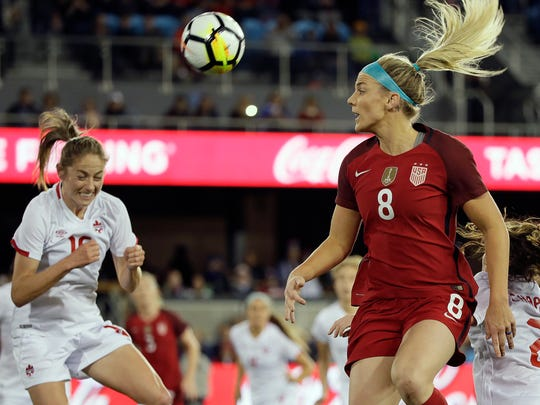 United States midfielder Julie Ertz (8) heads the ball toward the goal as Canada forward Janine Beckie, left, looks on during the first half of an international friendly women's soccer match, Sunday, Nov. 12, 2017, in San Jose, Calif. (AP Photo/Eric Risberg)