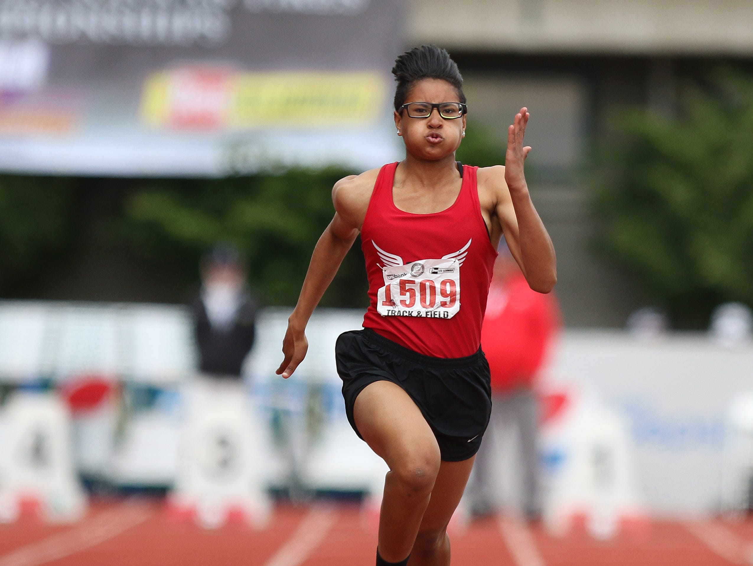 North Salem's Rebekah Miller won the state championship in the 100 meter dash in May 2016.