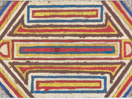 """Emery Blagdon, """"The Healing Machine"""" (untitled individual component), c. 1955–1986; oil paint on wood; 14 x 21 1/4 x 1/2 in.; John Michael Kohler Arts Center Collection, gift of Kohler Foundation Inc."""