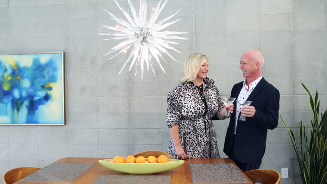 Modernism Week Chairman Chris Mobley and Executive Director Lisa Vossler Smith at Mobley's home on Tuesday, December 8, 2015 in Palm Springs, Calif.