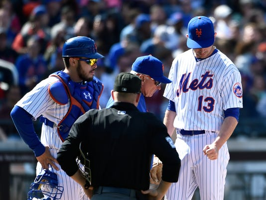 Travis d'Arnaud, Terry Collins, Sean Barber, Jerry Blevins