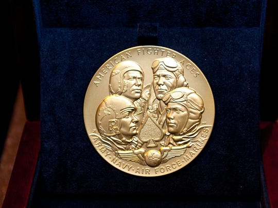 The Congressional Gold Medal was presented to 36 American fighter aces, including Salem's Bruce Williams, during a ceremony Wednesday, May 20, 2015, in Washington D.C.