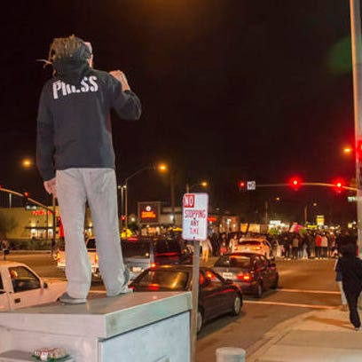 Protesters then took to Euclid Street, blocking traffic