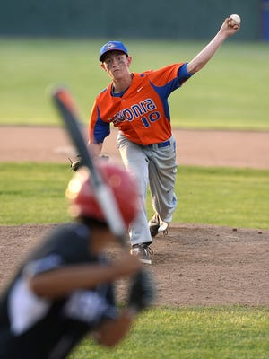 Livonia's Reid Van Scoter delivers a pitch during the Section V Class B1 Sectional Championship played at Dwyer Stadium in Batavia on May 27, 2016.