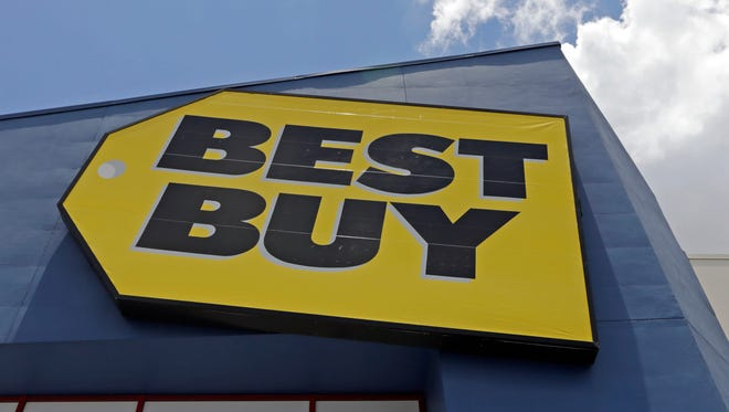 A Best Buy sign at a store in Hialeah, Fla. Best Buy said it will no longer sell software made by the Russian company Kaspersky Labs.