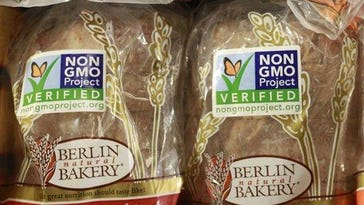 FILE - In this Oct. 5, 2012, file photo. froducts labeled with Non Genetically Modified Organism (GMO) are sold at the Lassens Natural Foods & Vitamins store in Los Feliz district of Los Angeles. The food industry is pressuring Congress to act before the state of Vermont requires food labels for genetically modified ingredients.