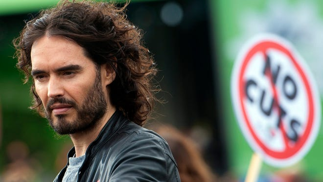 Russell Brand at British protest march in London,Oct. 18.