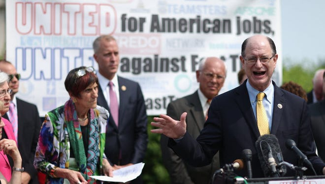 Rep. Brad Sherman and fellow Democratic members of Congress hold a news conference to voice their opposition to the Trans-Pacific Partnership trade deal June 10, 2015.