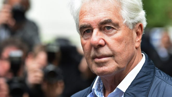 British celebrity publicist Max Clifford arrives at Southwark Crown Court in London on May 2, 2014, to be sentenced after being convicted on eight counts of indecent assault.