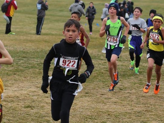 Seth Traux (922) earned All-American honors in the boys division, ages 9-10. He runs for Border United.