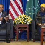 President Barack Obama, left, speaks during a bilateral meeting with African Union Commission chairperson, Dr. Nkosazana Dlamini-Zuma, at the African Union, July 28 in Addis Ababa, Ethiopia.