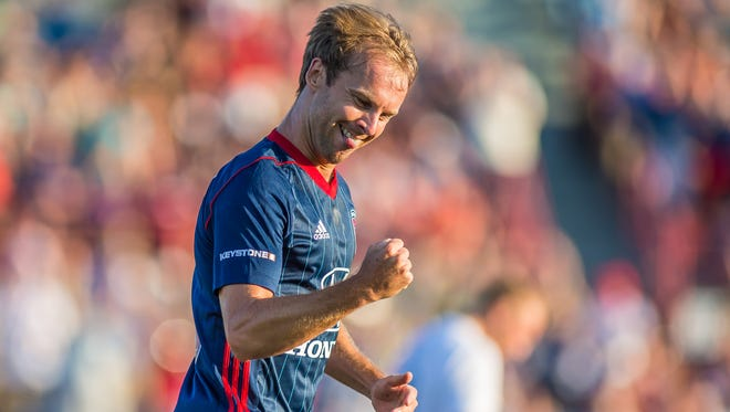 Craig Henderson celebrates his first goal with the club, scored Saturday, July 15.