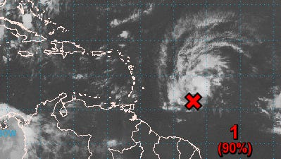 A tropical disturbance near the Caribbean has a high chance of becoming a tropical cyclone, forecasts show.