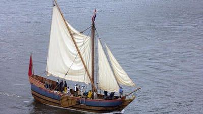 The replica boat, Half Moon, seen in the Hudson River near Poughkeepsie in 2009.