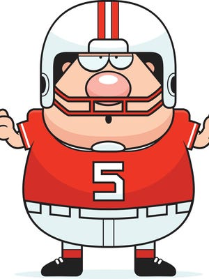 A cartoon illustration of a football player looking confused.