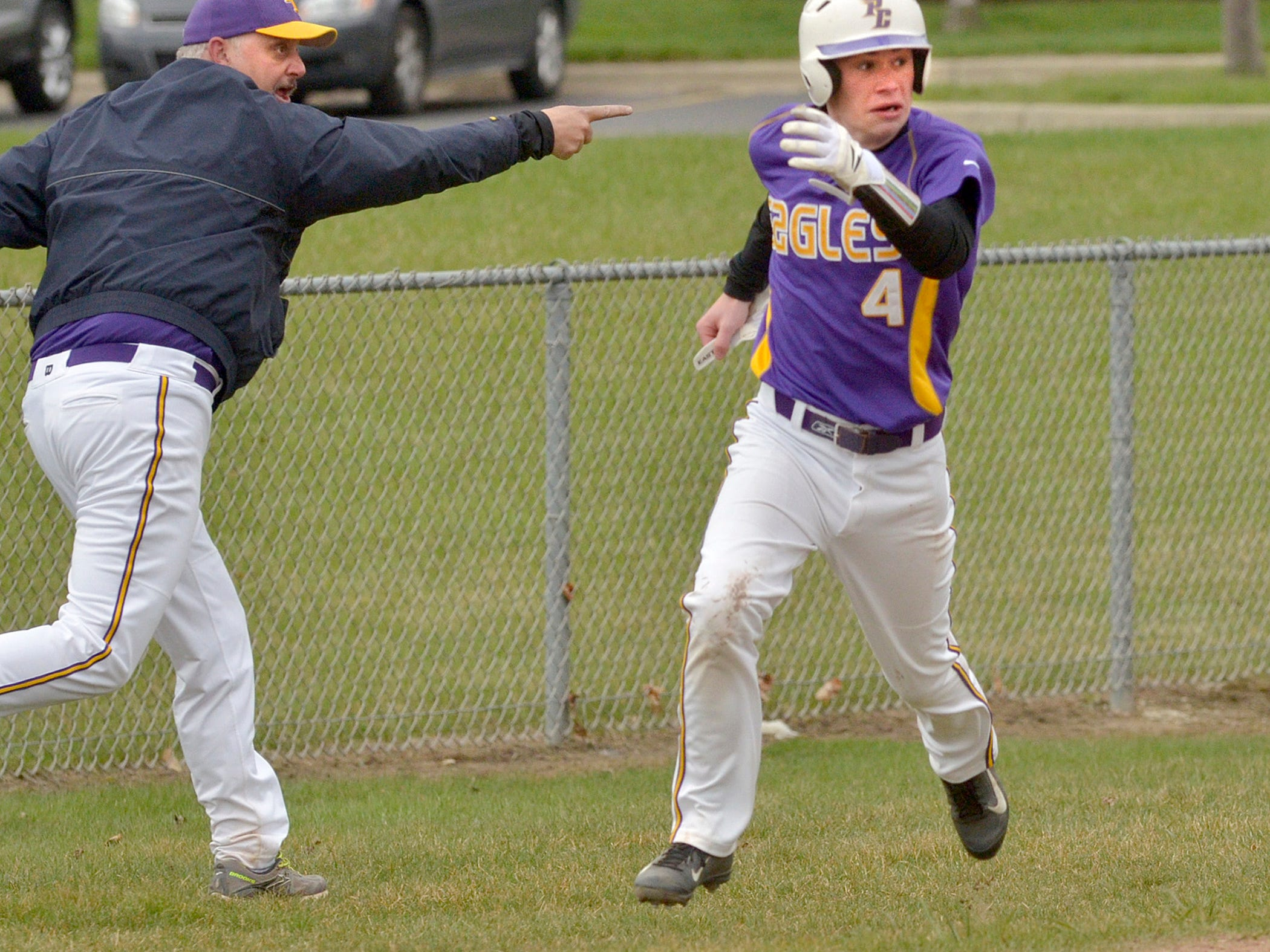 Plymouth Christian's Will Crecelius scores during a recent game. He and his Eagles teammates swept a doubleheader Thursday.