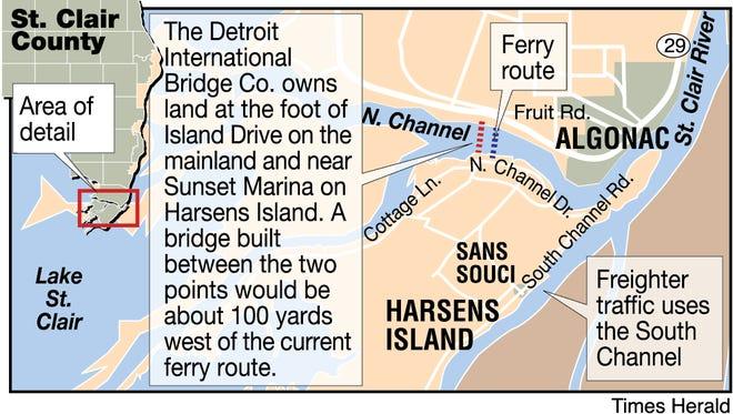 Harsens Island bridge locater.