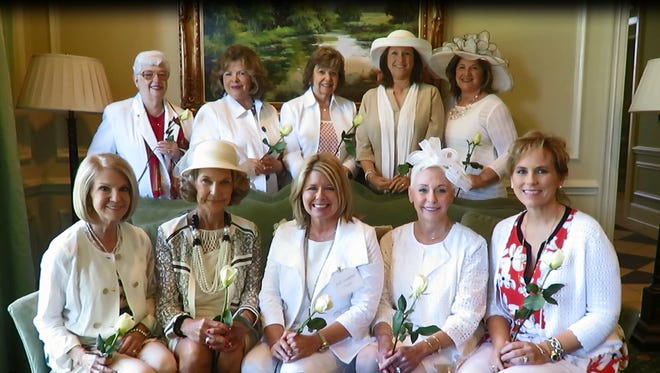 Among those attending the Wynlakes Women's Club's Magnolia Brunch were, front row, from left, Susan Alldredge, Julianna Zell, Julie Lankford, Penelope Poitevint, Christy Fletcher; back row, from left, Shirley Wesson, Sharon Thomason, Ann Michaud, Andee Duett and Nancy Long.