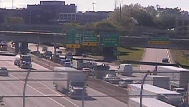 Several Downtown exits were closed due to a crash Tuesday morning.