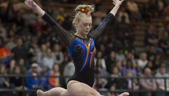 San Angelo Central High School senior Skyler McCowen finished fifth in the all-around at the 2018 Texas High School State Gymnastics Championships in Rockwall.