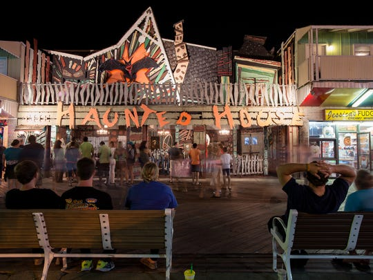 People line up at the Haunted House at the Inlet in Ocean City.