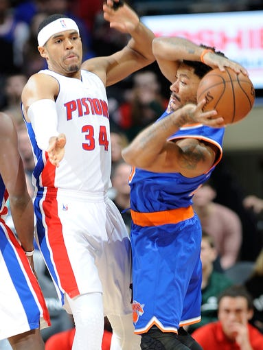 Pistons' Tobias Harris defends the Knicks' Derrick
